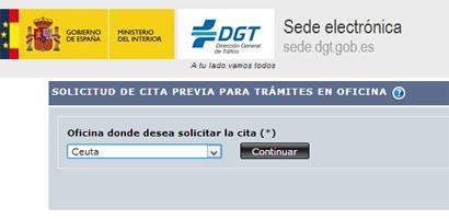 Pecir cita previa en trafico en Ceuta
