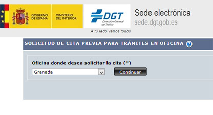 Cita Trafico en la DGT de Granada