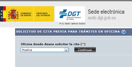 Cita Previa Trafico DGT de Huelva